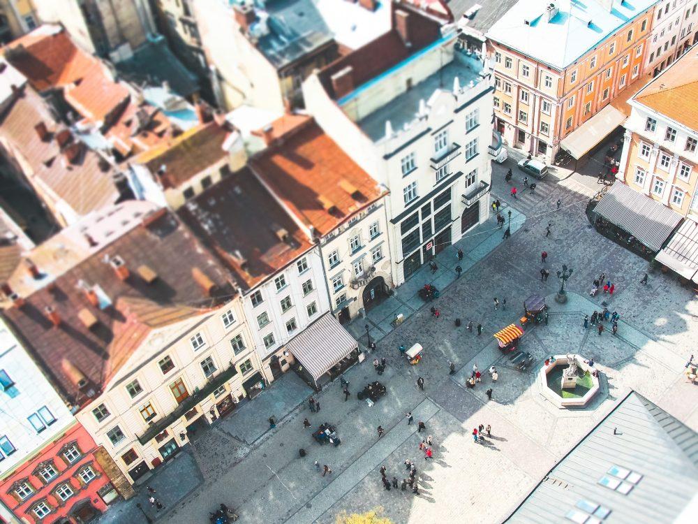 Imagem aérea de centro histórico urbano